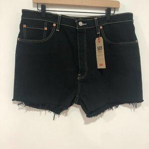 Levi's 501 high waisted black shorts frayed hem 34